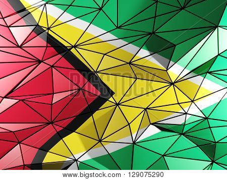 Triangle Background With Flag Of Guyana. 3D Illustration