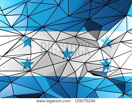 Triangle Background With Flag Of Honduras. 3D Illustration
