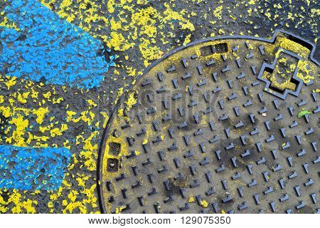industrial street asphalt and sewer grunge paint background