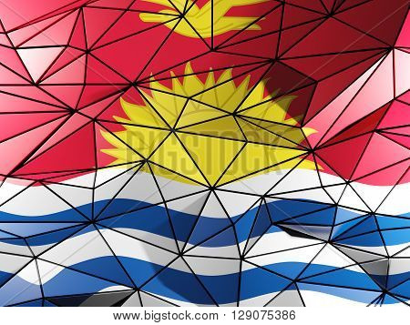 Triangle Background With Flag Of Kiribati. 3D Illustration
