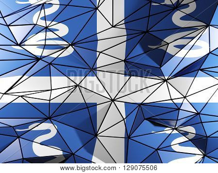 Triangle Background With Flag Of Martinique. 3D Illustration