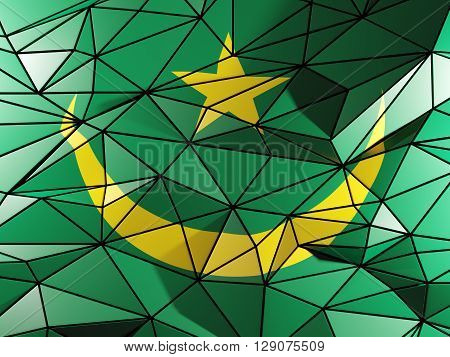 Triangle Background With Flag Of Mauritania. 3D Illustration