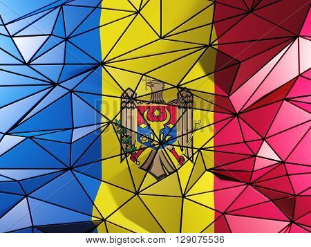 Triangle Background With Flag Of Moldova. 3D Illustration