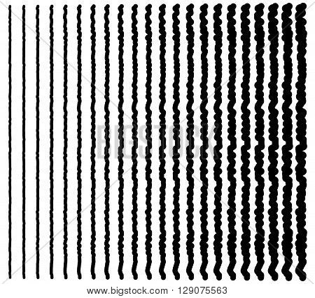 Irregular Lines. Set Of 22 Distorted Lines From Thin To Thick.
