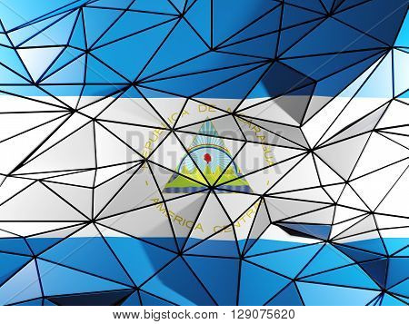 Triangle Background With Flag Of Nicaragua. 3D Illustration