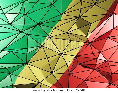 Triangle Background With Flag Of Republic Of The Congo. 3D Illustration
