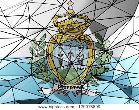 Triangle Background With Flag Of San Marino. 3D Illustration