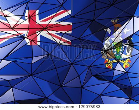 Triangle Background With Flag Of South Georgia And The South Sandwich Islands. 3D Illustration