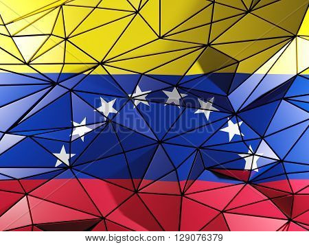 Triangle Background With Flag Of Venezuela. 3D Illustration