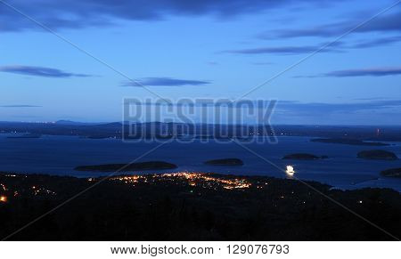 night view of Bar Harbor in Acadia National Park