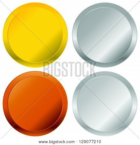 Gold, Silver, Bronze And Platinum Badges, Seals, Buttons