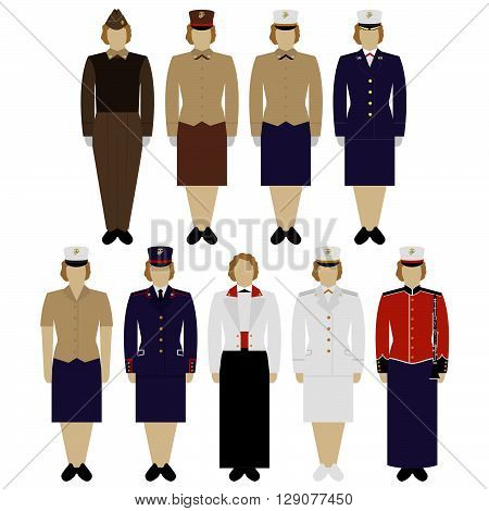 Insignia and female military uniform of the US Army. The illustration on a white background.