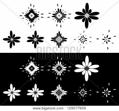 Set Of 8 Abstract Elements, Motifs - Circular, Rounded Element Set In Black And White