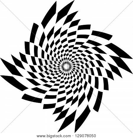 Abstract Spiral, Vortex Element. Rotating Monochrome Graphic.