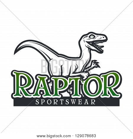 Dino Logo vector template. Raptor sport mascot logotype design. Vintage High School sport badge. Sportswear shop t-shirt illustration concept.