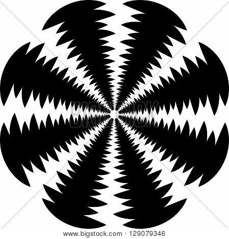 Circular, Rotating Spiral, Vortex Element, Motif. Abstract Geometric Shape. Non-figural Monochrome I