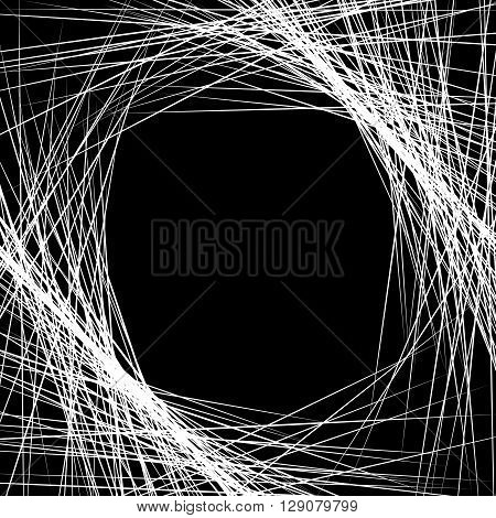 Dense Intersecting Lines. Abstract Geometric, Edgy Graphic. Monochrome Geometric Art.
