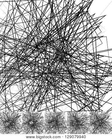 Chaotic Irregular, Random, Scattered Lines Artistic Geometric Image