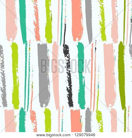 Bright artistic seamless pattern with hand made vertical stripes. Fantasy multicolored background.Vector illustration. Simple colorful design. ; Green blue grey and orange colors.