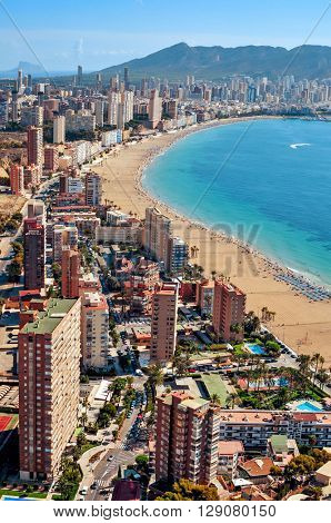 aerial view of Benidorm and its iconic skyscrapers in Playa Poniente area, in Valencian Community in Spain