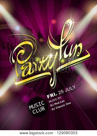 Attractive Party Fun Calligraphy Poster Design