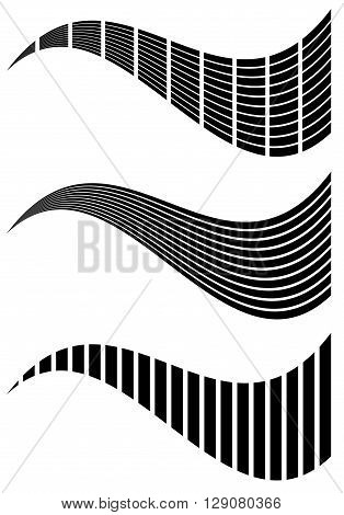 Set Of Abstract 3 Abstract Generic Design Elements. Grid Of Rectangles, Horizontal, Vertical Lines W