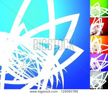 Abstract Background Set. Square Format Backgrounds With Geometric Element In 5 Colors + Grayscale Ve