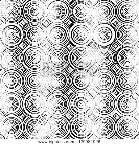Concentric Circles Monochrome Abstract Background. Radiating Circles, Rings.