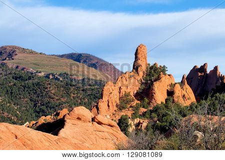 The rock formations of Garden of the Gods in Colorado Springs Colorado