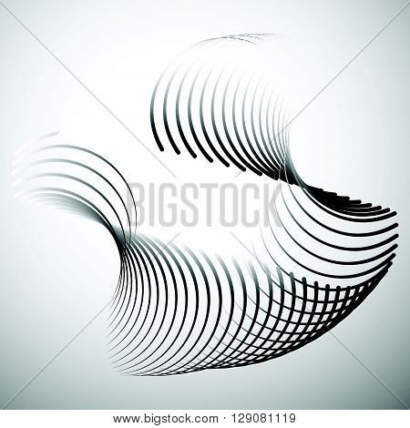 Abstract Element With Intersecting Curved Lines.