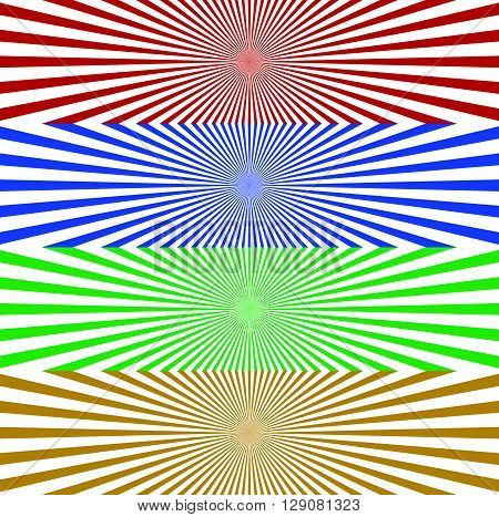 Starburst / Sunburst Banner Background In 4 Color. Converging, Radiating, Radial Lines Horizontal Ba