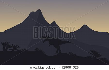 Silhouette of single brachiosaurus in mountain at the night