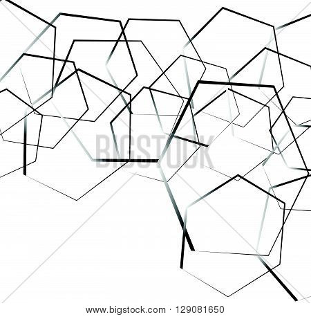 Random, Scattered Shapes Geometric Monochrome Illustration / Pattern.