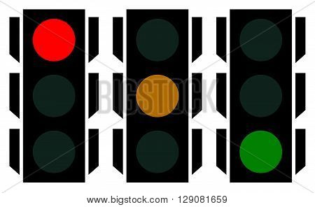 Traffic Lamp Silhouettes, Symbols. Can Be Customized.