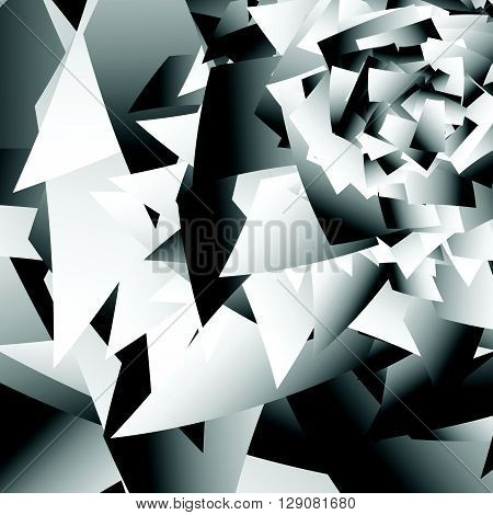 Scattered Edgy Shapes. Overlapping Random Shapes. Abstract Geometric Illustration.