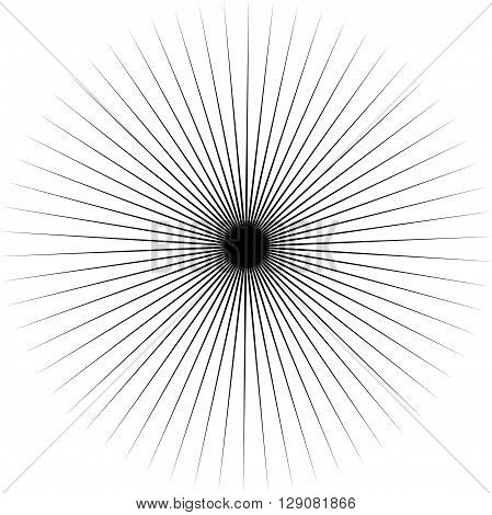 Abstract Radiating Spiky Element. Radial Shape.