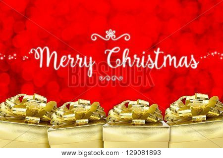 Merry Christmas Word With Many Golden Color Present With Red Bokeh Light Background,holiday Greeting
