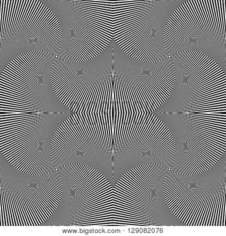 Abstract Geometric Monochrome Background - Mosaic Of 4 Rotating Squares. Seamlessly Repeatable.