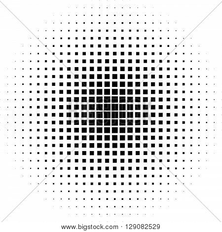 Halftone Graphics With Squares, Monochromatic Abstract Element