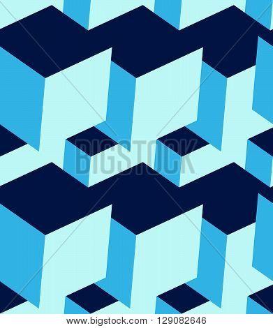 Cubes 3D Seamless Pattern. Monochrome Blue Background