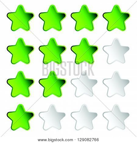 Star Rating Element With 4 Star For Valuation, Review, Voting Concepts.