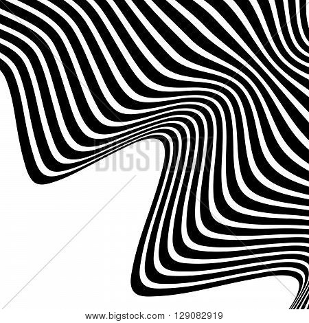 Wavy, Waving Lines. Lines, Stripes With Distortion Effect. Abstract Monochrome Background, Pattern