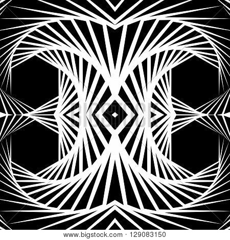 Abstract Mirrored Vortex Background, Pattern. Spirally Monochrome Graphic.