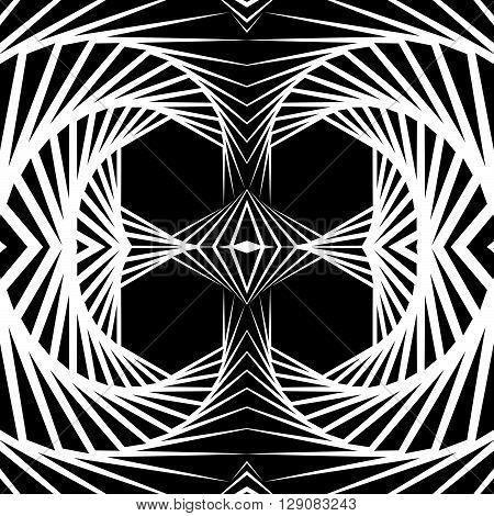 Abstract Mirrored Vortex Background, Pattern. Spirally Monochrome Graphic.