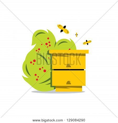 Yellow Hive, Bee, Berry Bush Isolated on a White Background