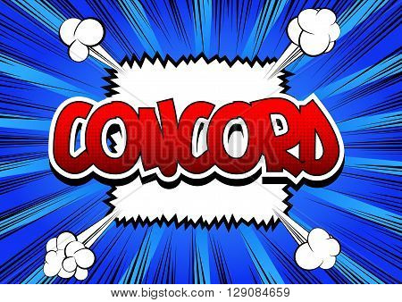 Concord - Comic book style word on comic book abstract background.