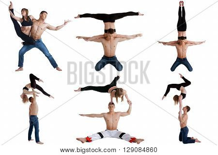 Acrobatics. Collection of beautiful couple posing at camera
