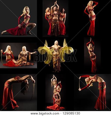Belly dance. Set of beautiful women dancing with sabers