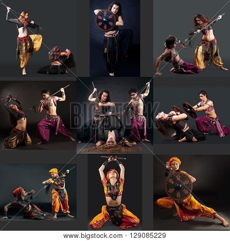 East Dance. Collage of professional dancers perform with spears