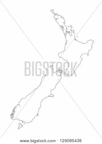 New Zealand black outline map on a white background ideally suited to many applications including education and toursim.